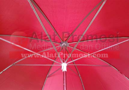 Payung golf ready stock warna merah hati handel kayu double ruji putih