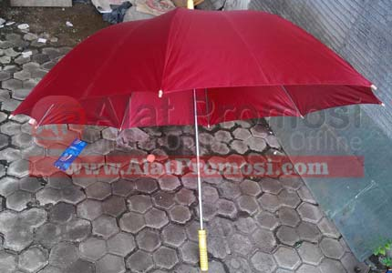 Payung golf ready stock warna merah hati handel kayu