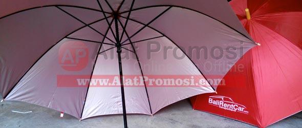 Payung golf pesanan Bali Rent Car Com - luar warna merah dalam warna silver